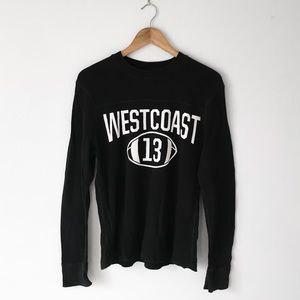 90s West Coast Waffle Knit Long-Sleeve Shirt